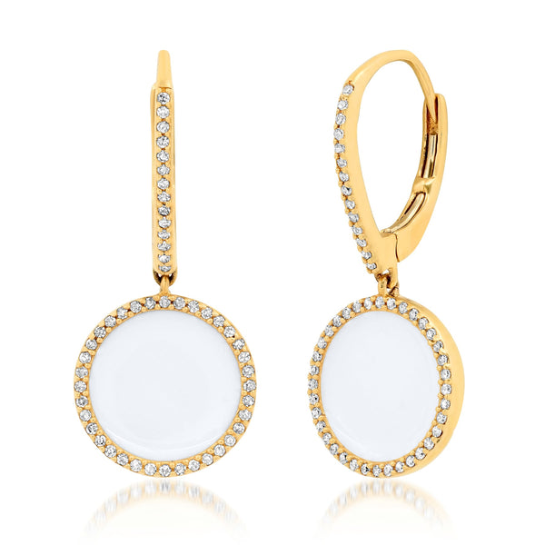 WHITE ENAMEL SEAL EARRINGS, GOLD