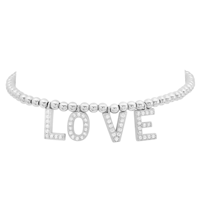 LOVE STRETCH BRACELET, SILVER