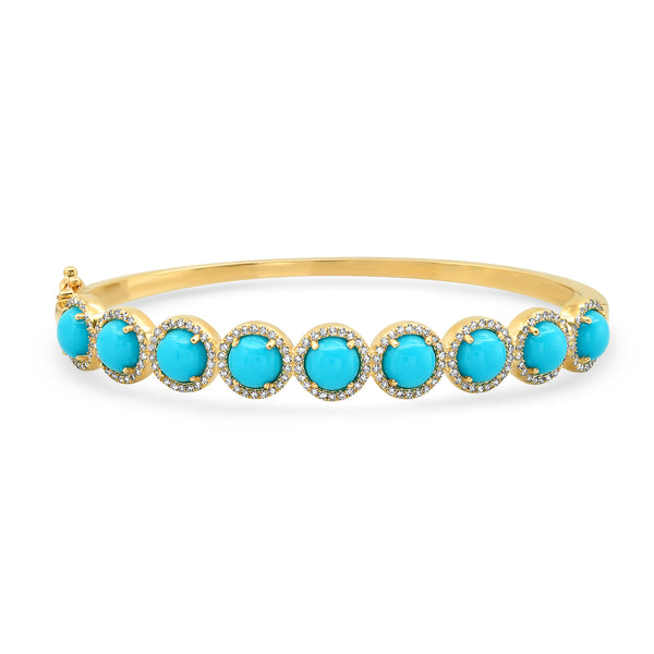 SLEEPING BEAUTY TURQUOISE & DIAMOND BRACELET,  GOLD