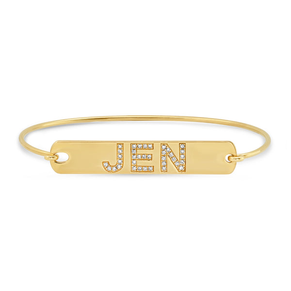 CUSTOM DIAMOND LETTER TAG BRACELET, GOLD