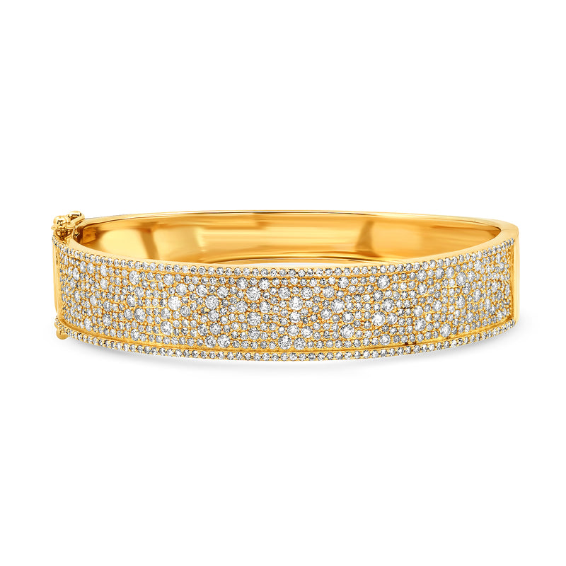 THICK DIAMOND BANGLE, GOLD
