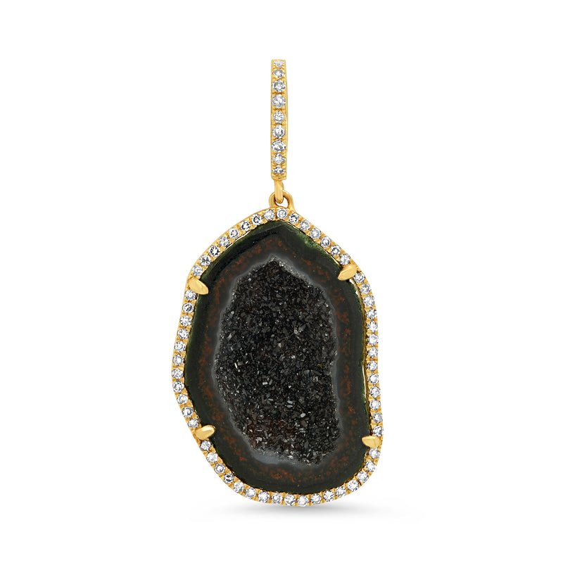 SMALL GEODE CHARM, BLACK, GOLD