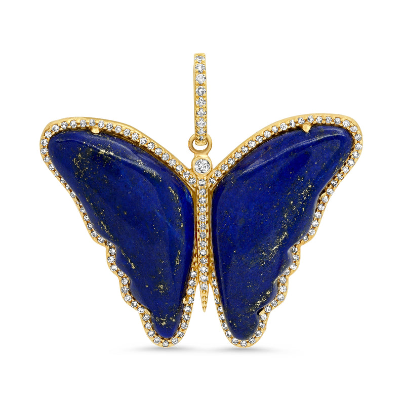 LAPIS BUTTERFLY PENDANT, GOLD