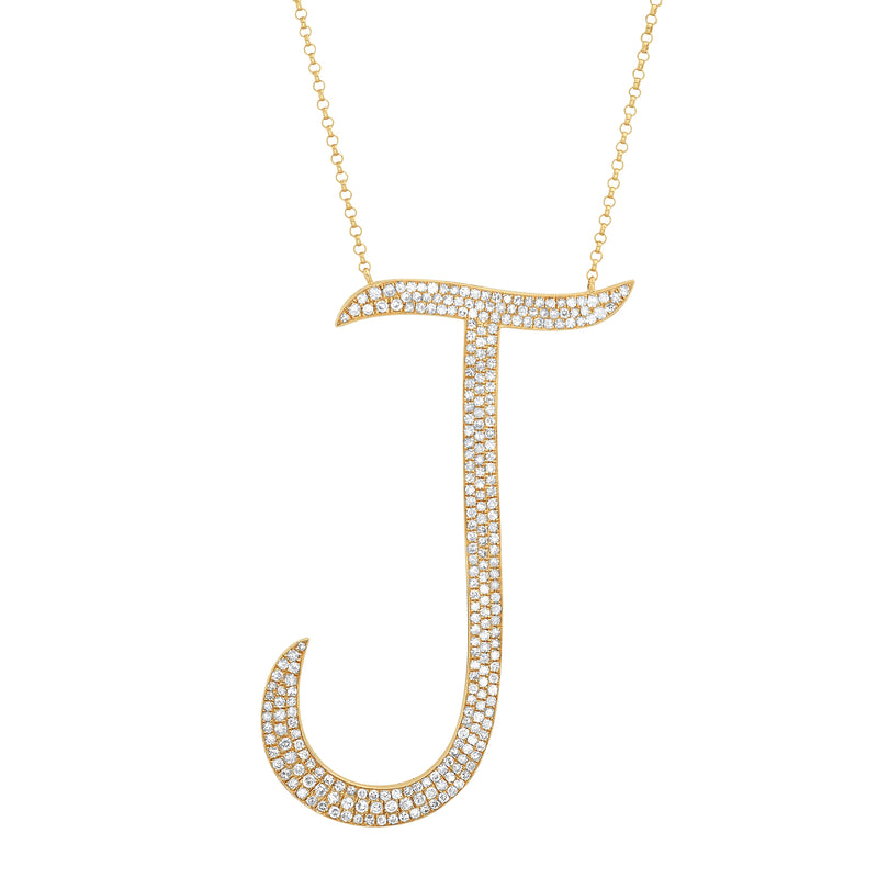 LARGE J DIAMOND INITIAL NECKLACE, GOLD