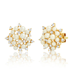 PEARL CLUSTER STUD, GOLD