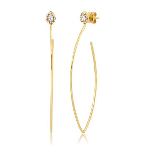 LARGE DIAMOND POWER WIRE EARRINGS, GOLD