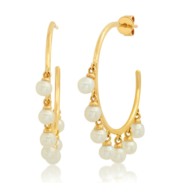 DANGLE PEARL HOOP, GOLD
