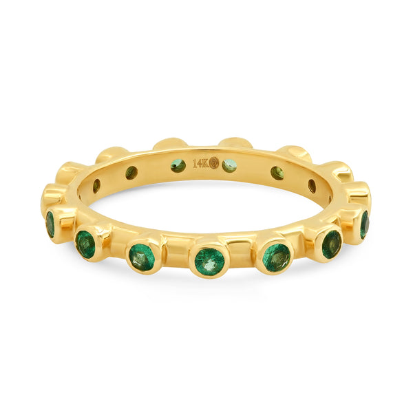 EMERALD DOTTED STACKED RING, GOLD