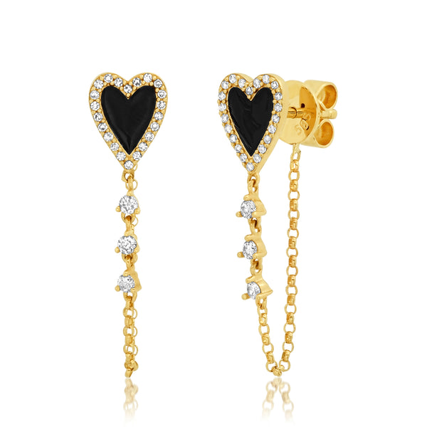 BLACK ENAMEL HEART CHAIN EARRINGS, GOLD