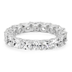 LARGE PRINCESS CUT ETERNITY RING SILVER