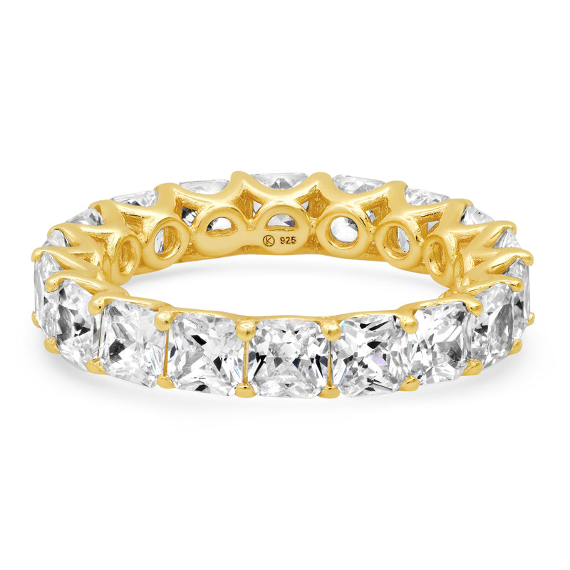 LARGE PRINCESS CUT ETERNITY RING, GOLD