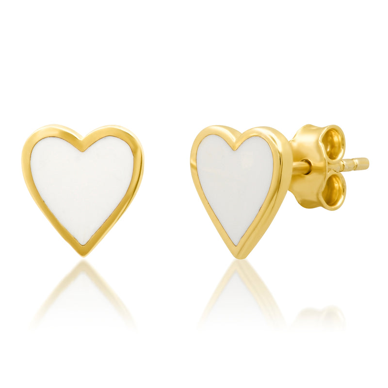 WHITE HEART ENAMEL STUDS GOLD