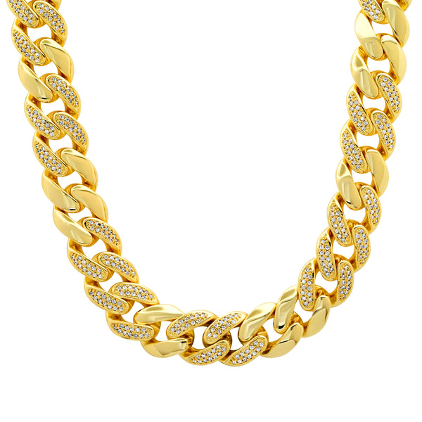SPARKLE CUBAN LINK NECKLACE GOLD