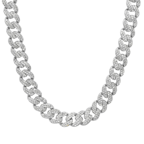 LARGE CUBAN LINK VIBRATION NECKLACE SILVER