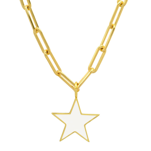 STAR PAPERCLIP CHAIN WHITE ENAMEL GOLD