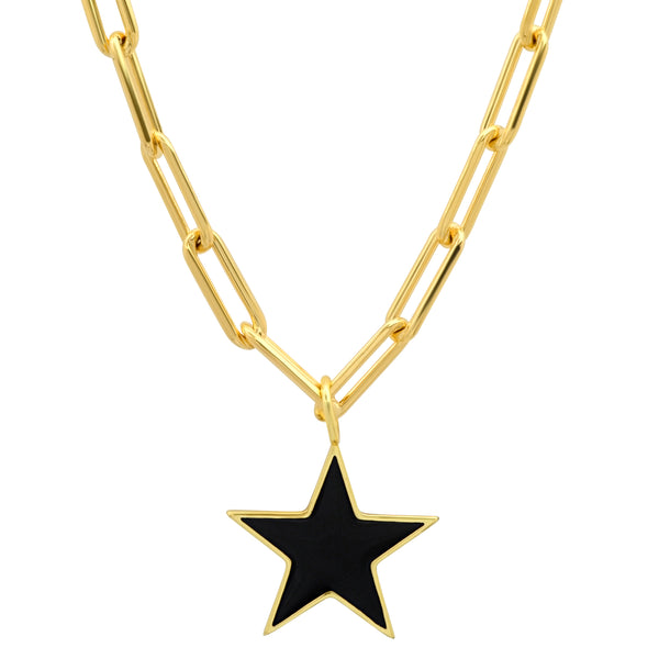 STAR PAPERCLIP CHAIN BLACK ENAMEL GOLD