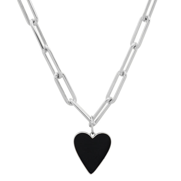 Reversible B & W Heart Paperclip Chain Silver