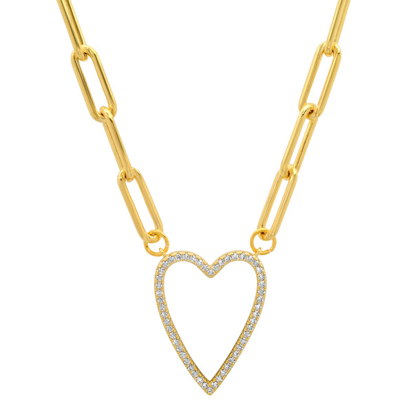 OPEN HEART PAPER CLIP CHAIN CZ GOLD