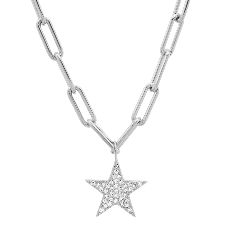 PAVE CZ STAR PAPERCLIP CHAIN SILVER