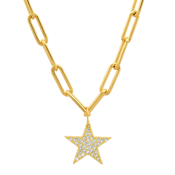 PAVE CZ STAR PAPERCLIP CHAIN GOLD