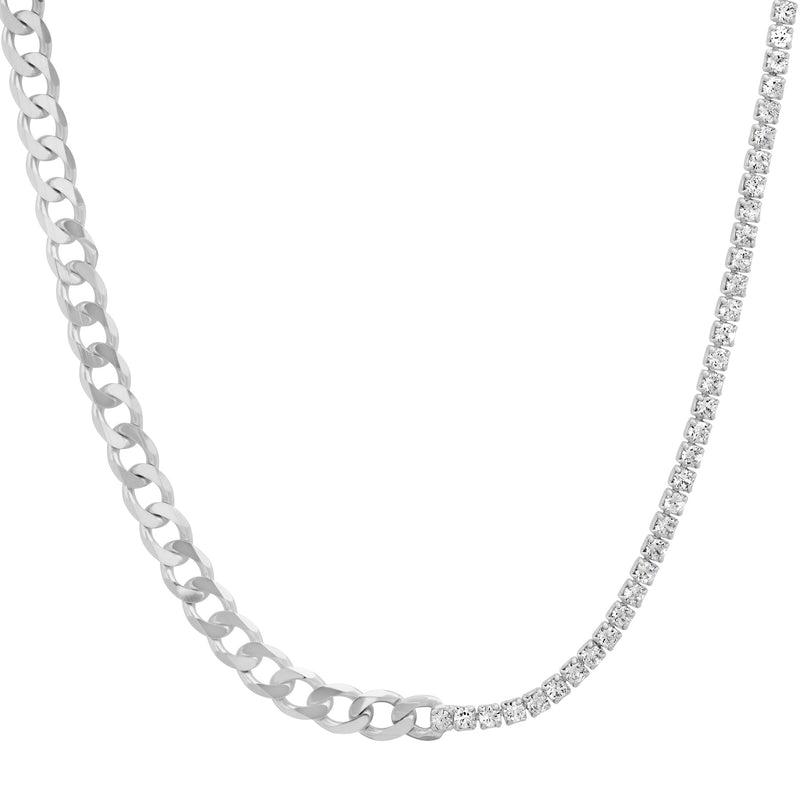 HALF & HALF CUBAN LINK/TENNIS CZ NECKLACE SILVER