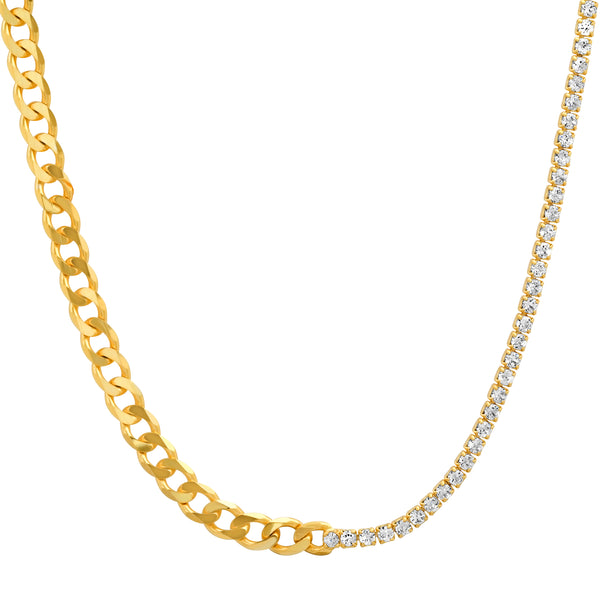 HALF & HALF CUBAN LINK/TENNIS CZ NECKLACE GOLD