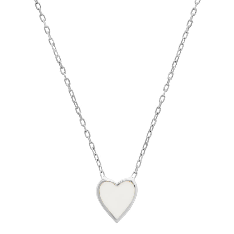 WHITE HEART ENAMEL NECKLACE, SILVER