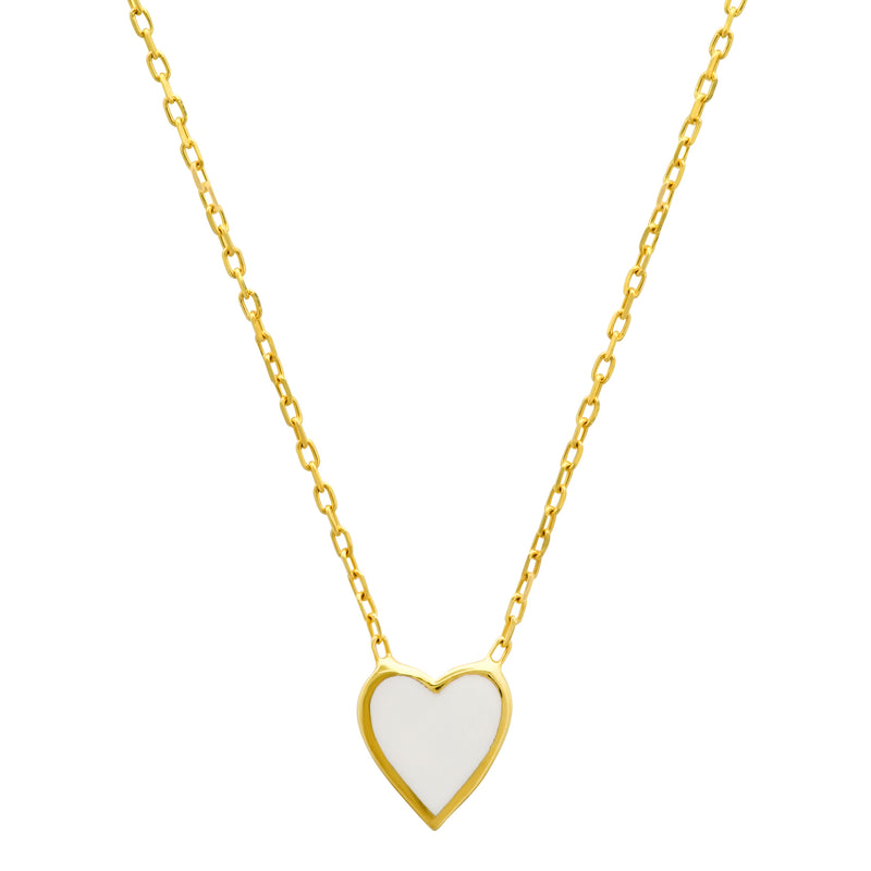 WHITE HEART ENAMEL NECKLACE GOLD