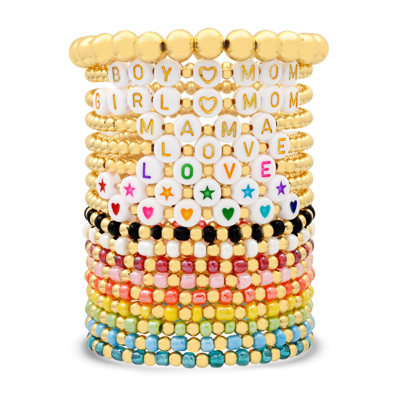 MAMA BALL STRETCH BRACELET GOLD