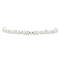 IRIDESCENT BALL STRETCH BRACELET WHITE AND SILVER