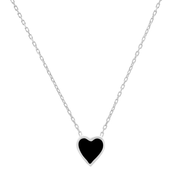 BLACK HEART ENAMEL NECKLACE SILVER