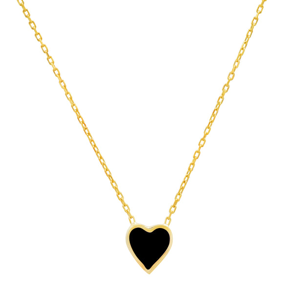 BLACK HEART ENAMEL NECKLACE GOLD
