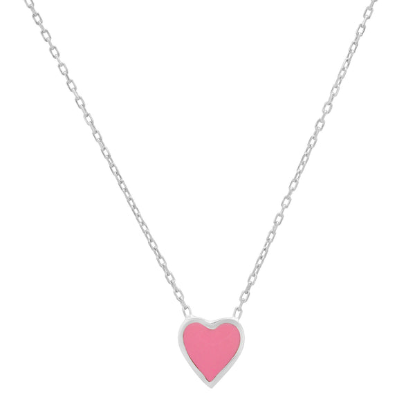 PINK HEART ENAMEL NECKLACE SILVER