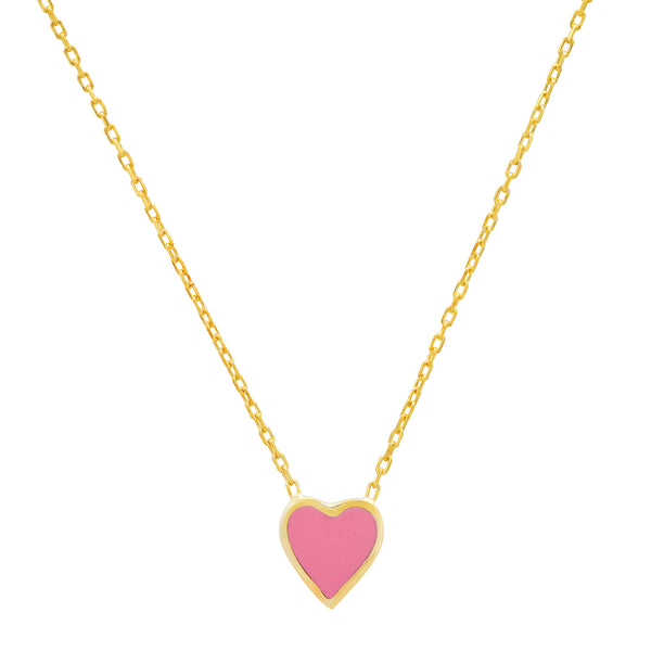 PINK HEART ENAMEL NECKLACE GOLD