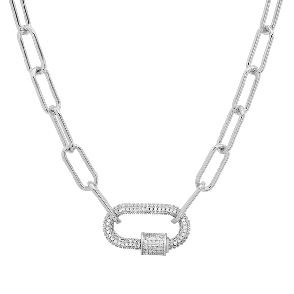 LARGE CZ SCREW ENHANCER PAPERCLIP CHAIN, SILVER ON SILVER