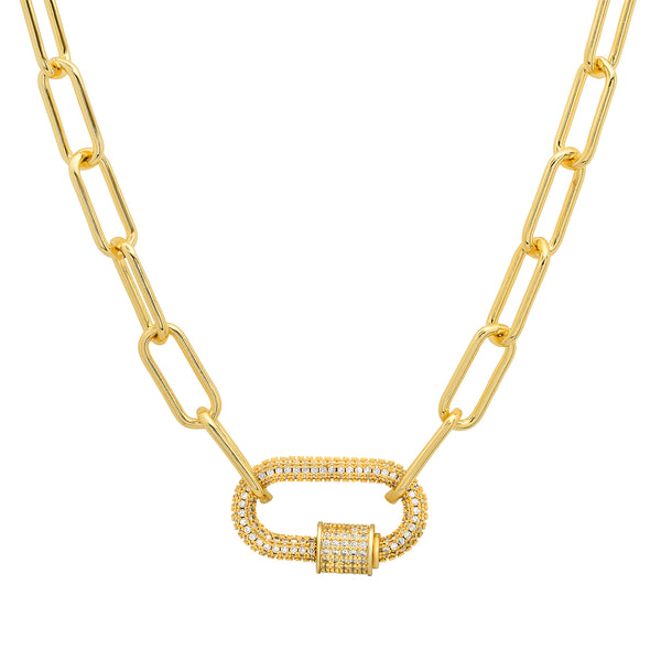 LARGE CZ SCREW ENHANCER PAPERCLIP CHAIN, GOLD ON GOLD