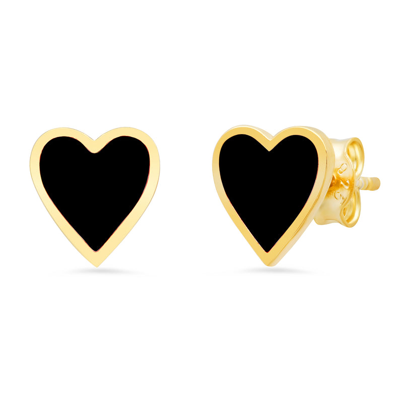 BLACK HEART ENAMEL STUDS GOLD