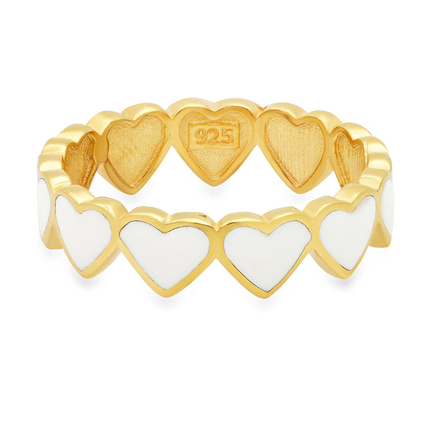 WHITE ENAMEL HEARTS RING GOLD