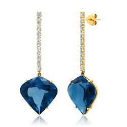 London Blue Topaz Drop Earrings Diamonds 14kt Gold
