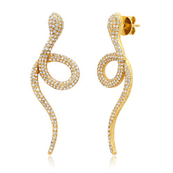 Diamond Snake Dangle Earrings 14kt Gold