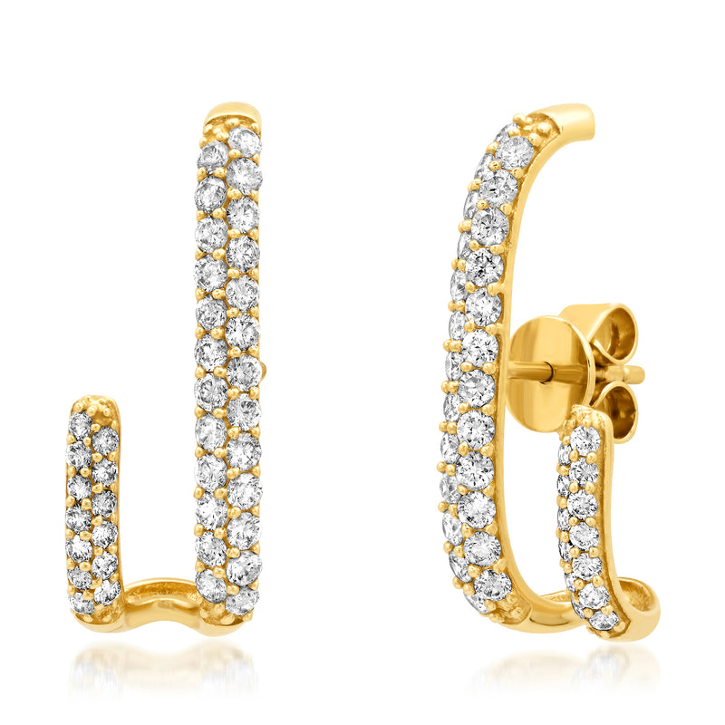 J Bar Diamond Earrings 14kt Gold