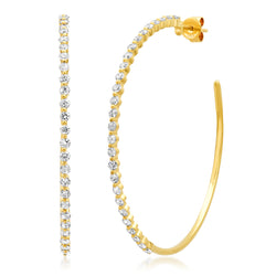 Huggie Diamond Disc Earrings 14kt Gold