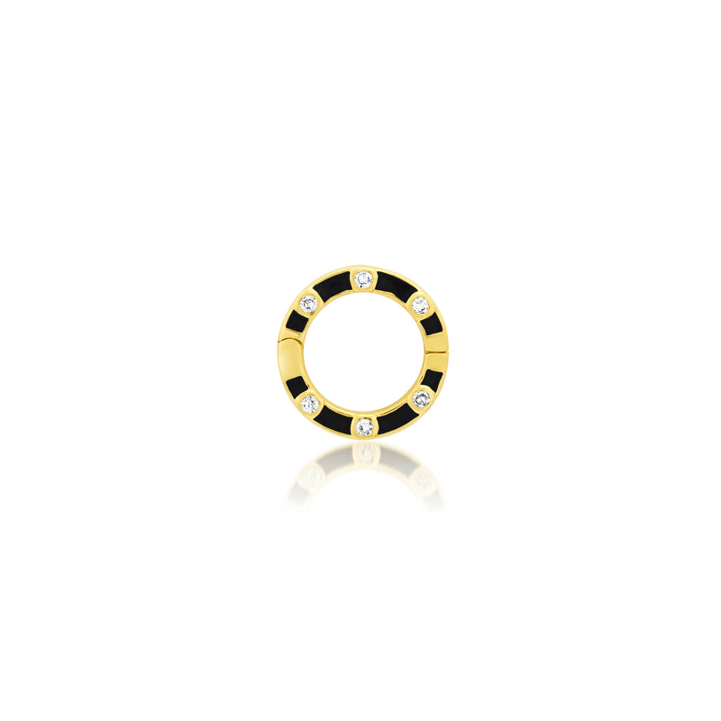 Small Diamond Black Enamel Enhancer 14kt Gold