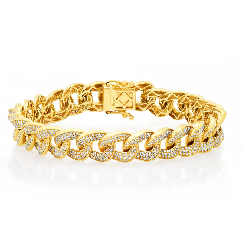 Stop The Show Cuban Link Bracelet Diamond 14kt Gold