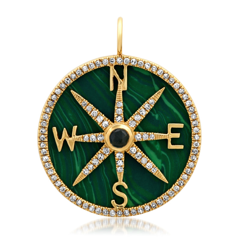 Divine Direction Malachite Pendant Diamond 14kt Gold