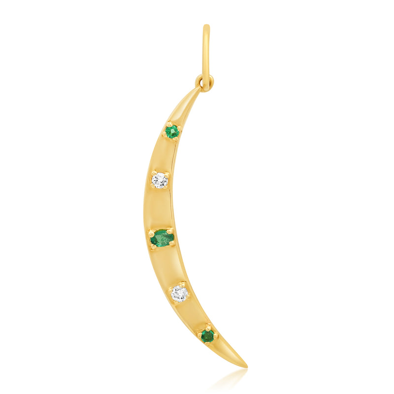 Emerald Crescent Moon Pendant Diamond 14kt Gold