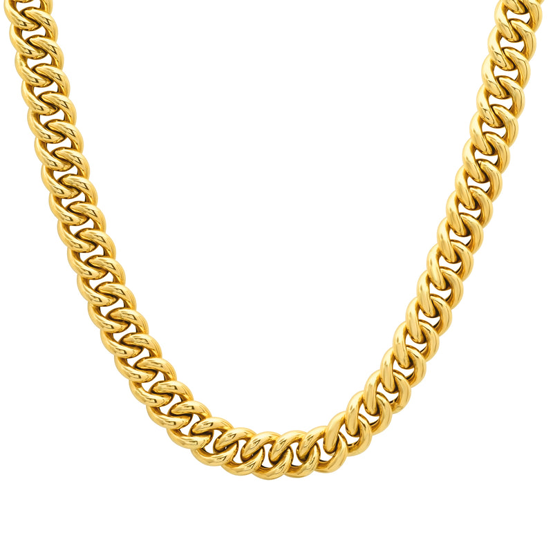 Puffy Cuban Link Choker 14kt Gold 15""