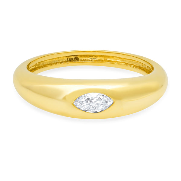 Emdedded Marquis Diamond Ring 14kt Gold