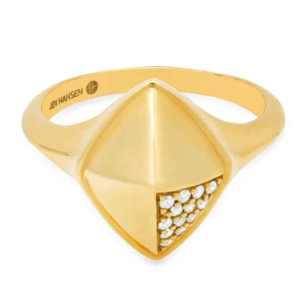 Diamond Shield Ring 14kt Gold
