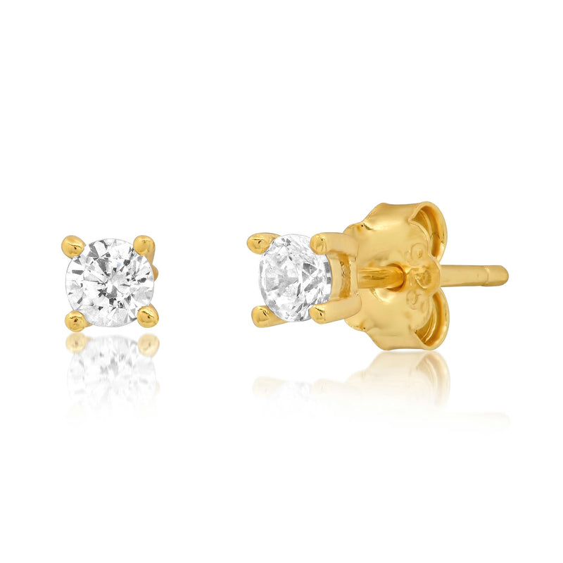 3 MM SOLITAIRE STUD, GOLD